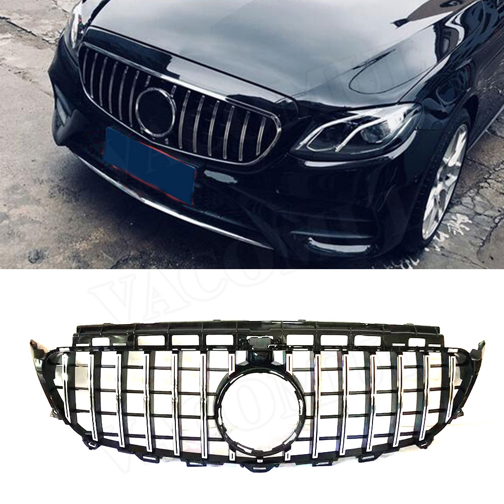 E Class ABS Black Silver Front Bumper Mesh Grill Grille