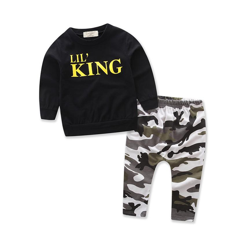 Boys Clothes 1 2 3 4 5 6 Year Children Clothing Set New Spring Style Kids Suits Long Sleeve Black Shirts Camouflage Pants