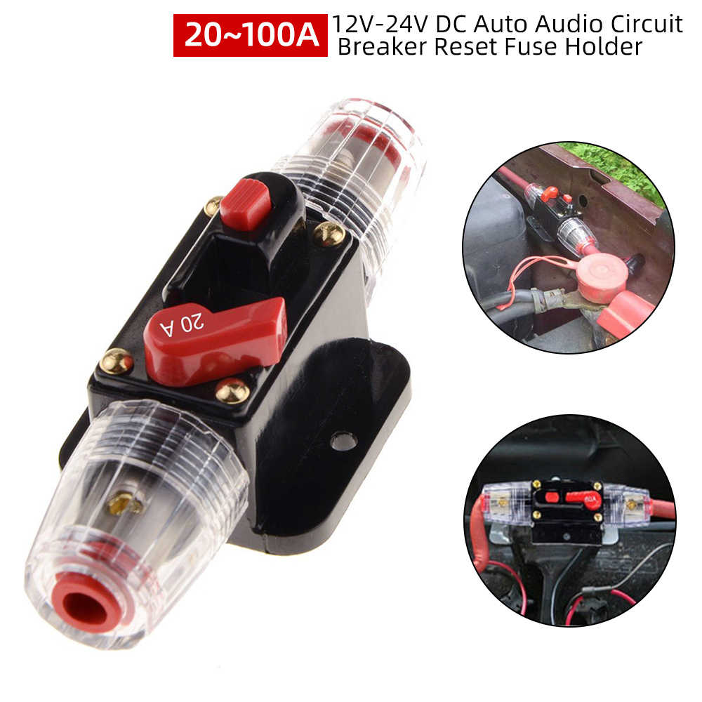 Power Battery Charger Circuit Breaker In-Line Fuse Inverter Waterproof Manual Reset Switches Fuseholder Automobile 15A for DC 12V,24V,32V Cars