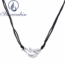 Slovecabin Original 925 Sterling Silver Handcuff Pendant Chain Necklace With Black Rope For Women & Men European Popular Jewelry