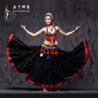 American Tribal Style Belly Dance Costume Tassel Coin ATS Costume 3pcs Bra Belt Skirt Tribal Fusion