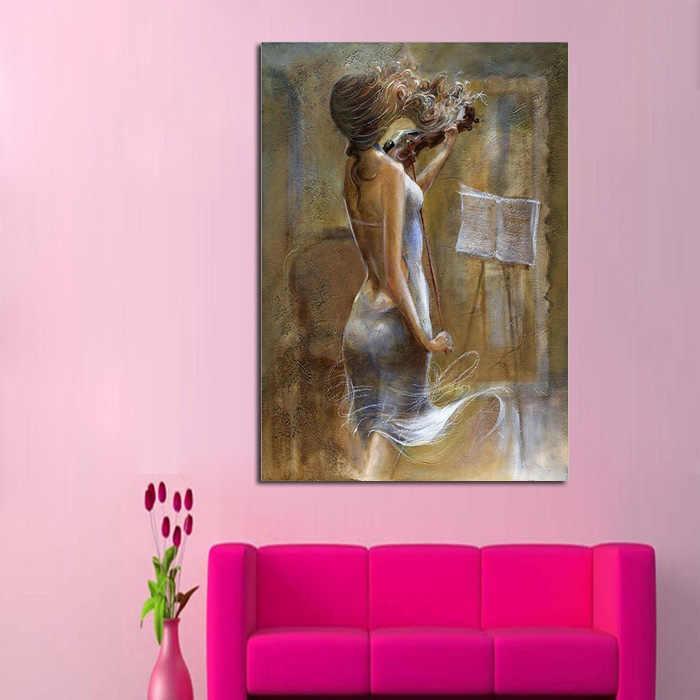 マスターアートワーク現代手描き油彩画バイオリン女の子ミュージカルアート絵装飾壁絵画上のキャンバスユニークなギフト