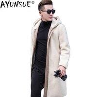 AYUNSUE натуральным мехом пальто Для мужчин стрижки овец Шерстяное пальто Для мужчин; зимняя куртка длинные из натуральной овечьей кожи Куртки