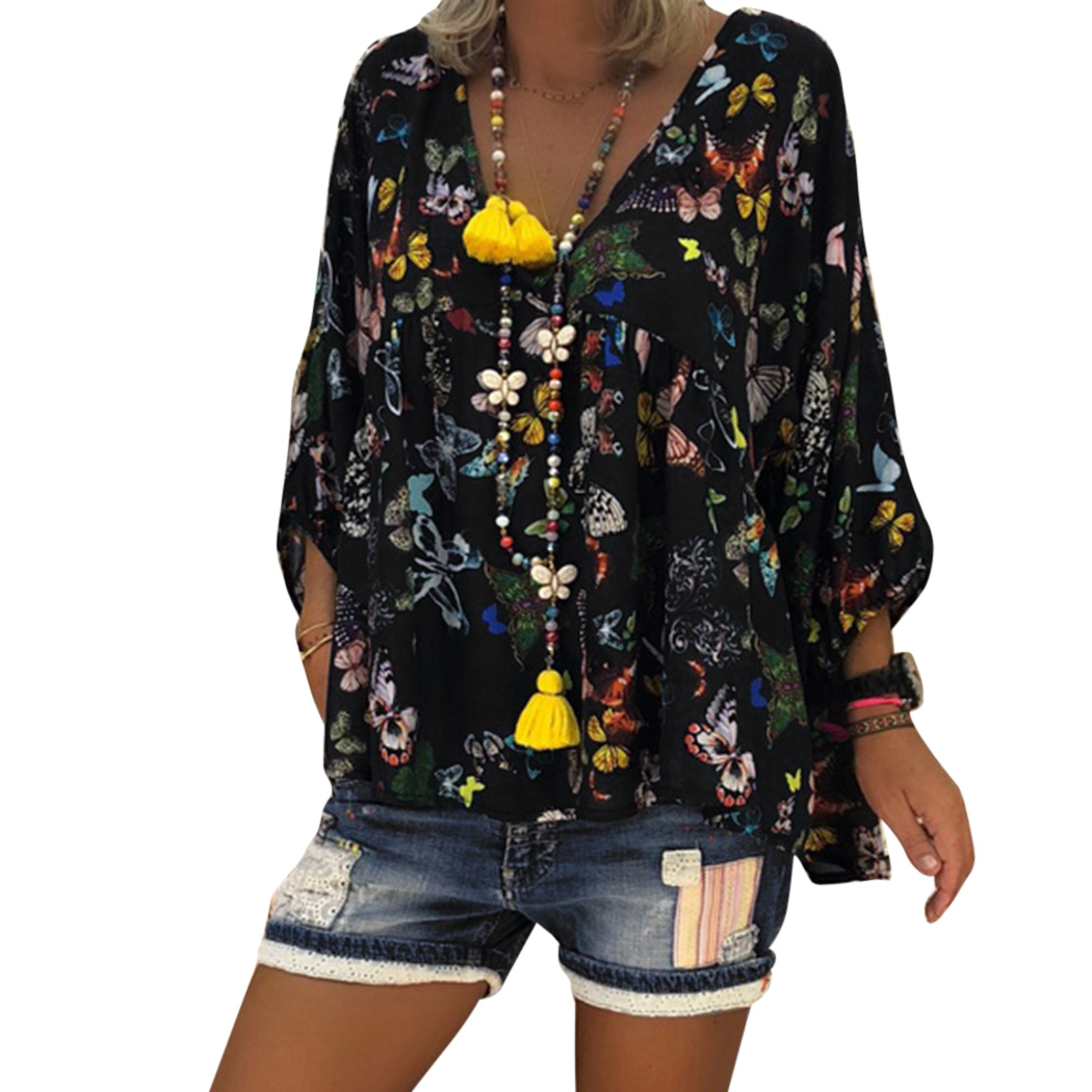 Plus Size 4XL <font><b>5XL</b></font> Women Butterfly Printed Tops Blouse 2018 Autumn Ladies <font><b>Sexy</b></font> V Neck Lantern Sleeve Blouse Shirts Blusas <font><b>Mujer</b></font> image