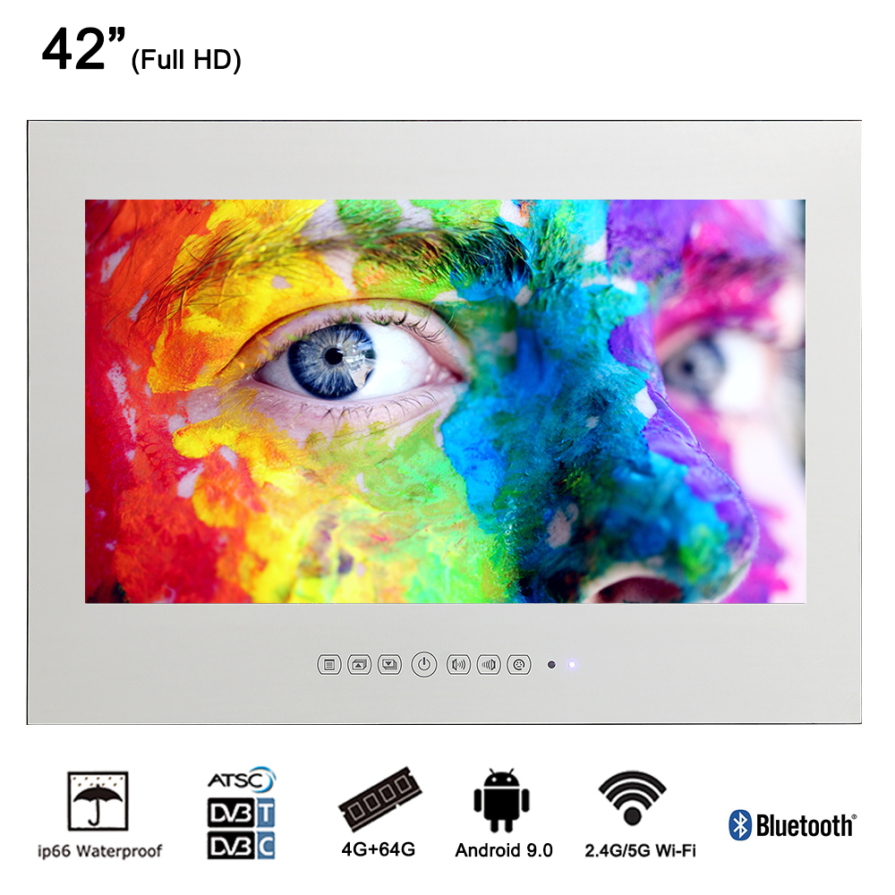 Souria 42 inch Android 9.0 Smart WiFi 1080HD Full Vanishing Mirror Shower Television with Bluetooth Bathroom LED TV(China)
