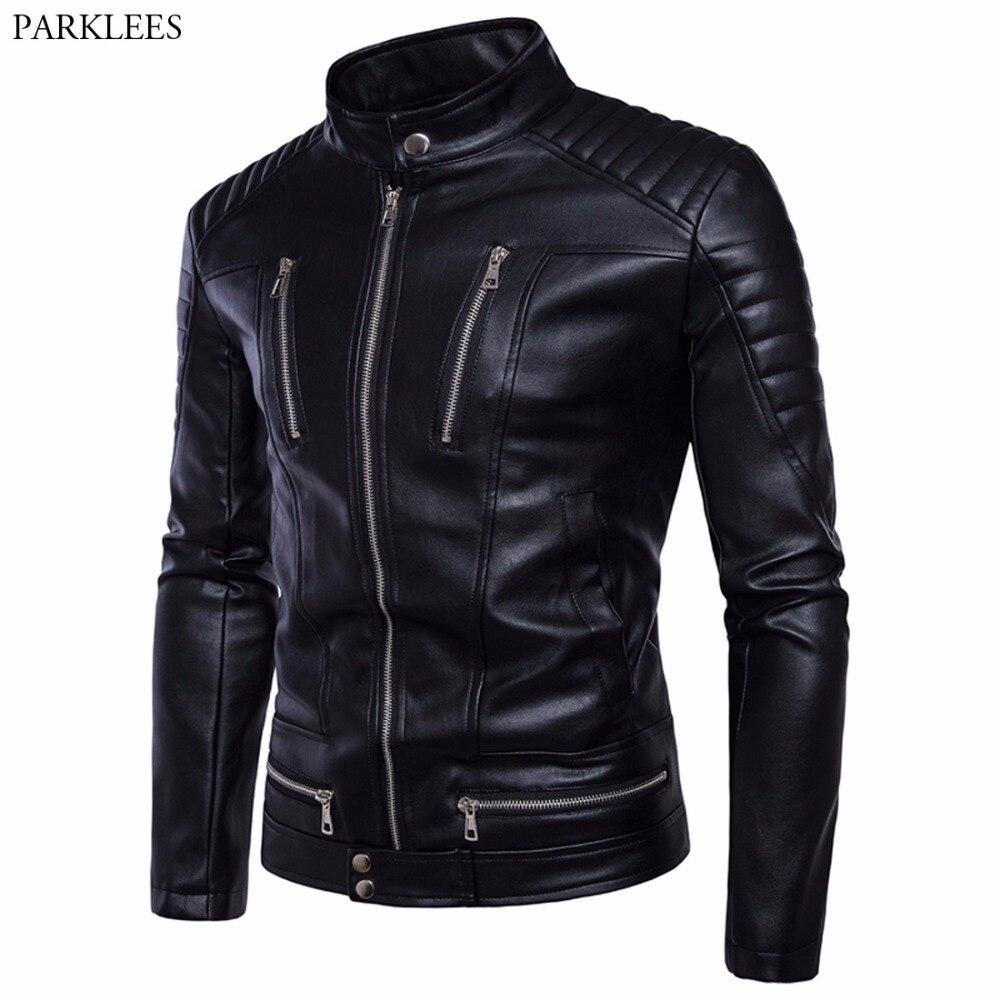 Motorcycle Leather Jacket Men 2017 Autumn Winter Men PU Leather Jacket Pocket Multi-zipper Moto Mens Jackets Coats Veste Homme