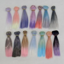 1pcs 15*100cm Doll Accessories Straight Synthetic Fiber Wig Hair For Wigs High-temperature Wire for BJD SD Russian
