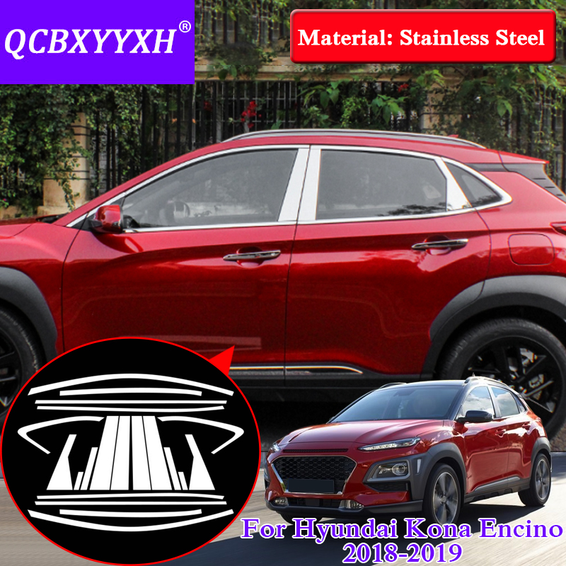 Car Styling Stainless Steel Decorative Sequins For Hyundai Kona Encino 2018 Car Full Window Trim Chrome Covers Chromium Styling stainless steel full window with center pillar decoration trim car accessories for hyundai ix35 2013 2014 2015 24