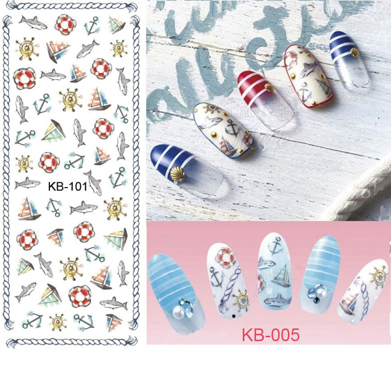 2017 manicure new diy nail design water transfer nails art sticker cartoon fish anchor ocean wraps watermark fingernails decals in stickers decals from