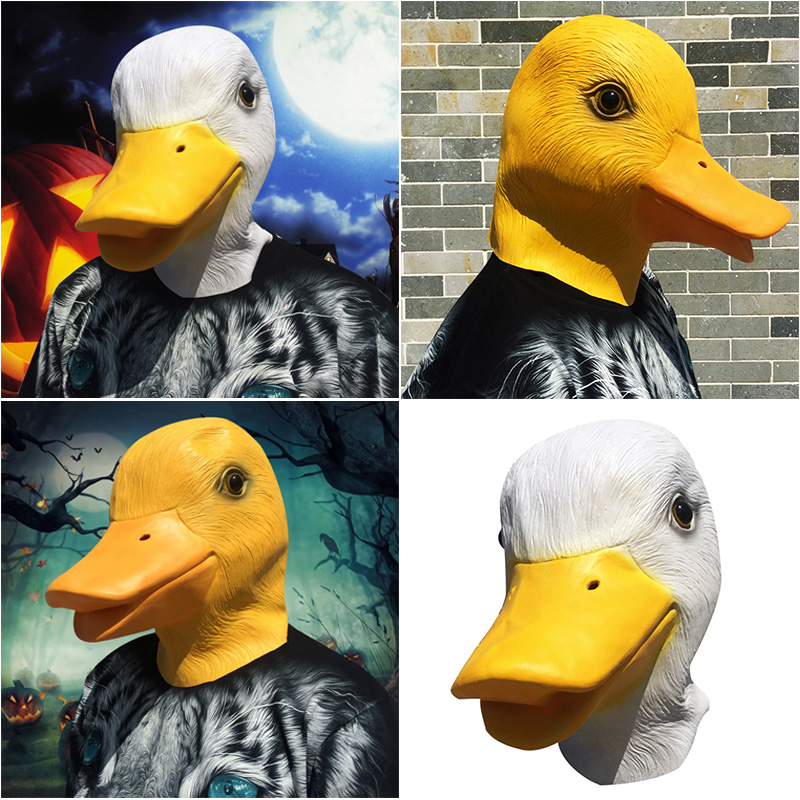 Deluxe Latex Rubber Creepy Funny Yellow Duck Head Mask Halloween Party prop
