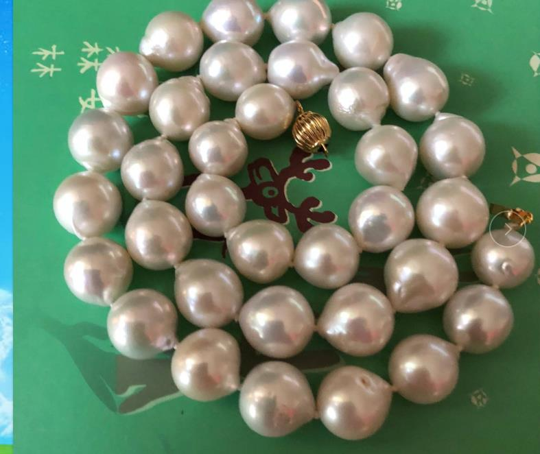 gorgeous 12-14mm freshwater white pearl necklace 20 925silvergorgeous 12-14mm freshwater white pearl necklace 20 925silver