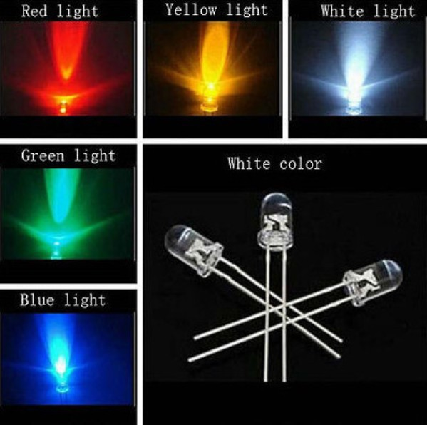 100pcs X 5 Color = 500pcs 3mm White Red Yellow Blue Green Light-emitting Diode Super Bright Light Bulb Led Lamp