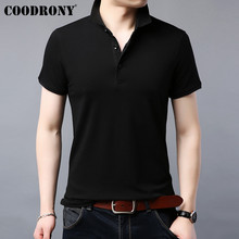 COODRONY Short Sleeve T Shirt Men Streetwear Tshirt Classic Casual Turn-down Collar T-Shirt Cotton Tee Homme S95069