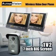 KDB702 1v2 Wireless Video Doorbell Door Phone Camera 7″ Monitor Home Security Intercom System with 1 camera 2 monitors