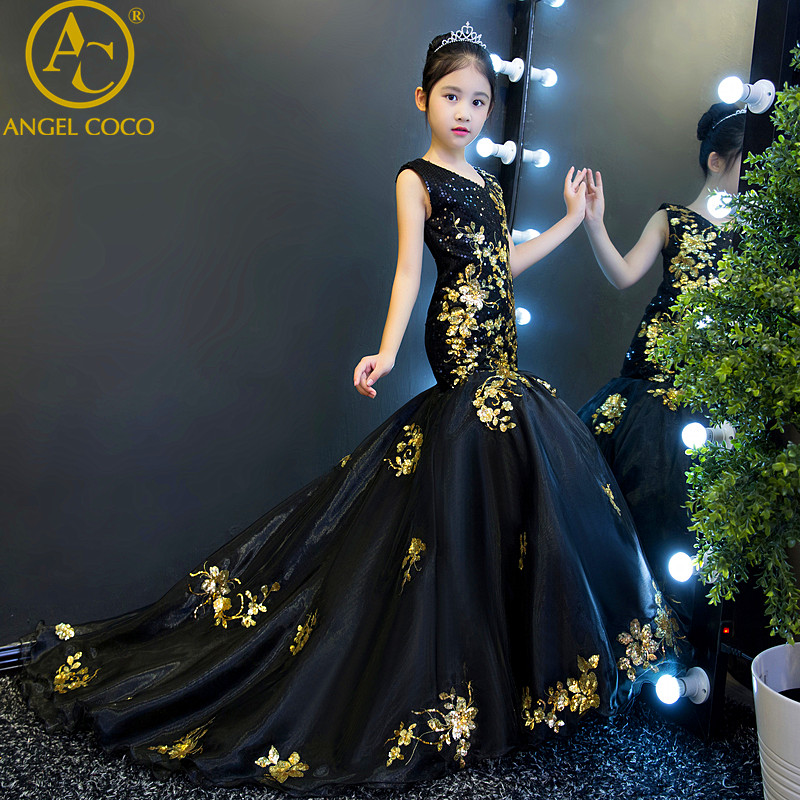 Children'S Dress Girls Show Costumes Catwalk Princess Gown Black Gold Sequins Wedding Birthday Mermaid Evening Dress Robe Longue вечернее платье mermaid dress vestido noiva 2015 w006 elie saab evening dress