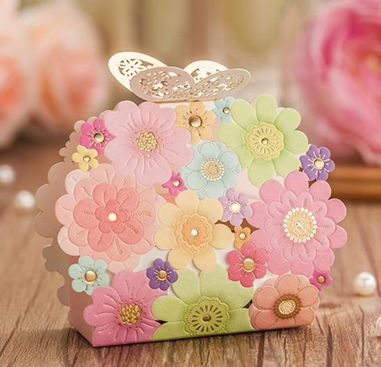 Free Shipping 1pcs Colorful Laser Cut Wedding Favor Boxes Wedding Candy Box C