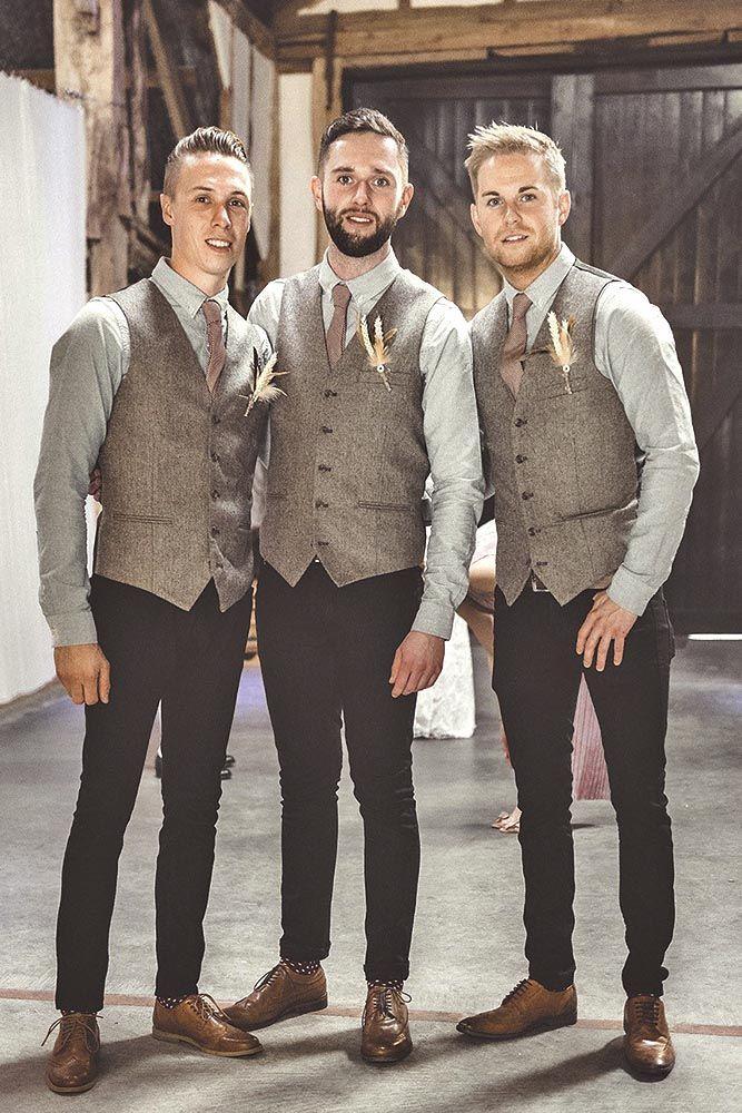 2017 Latest Coat Pant Designs Brown Tweed Vest Formal Slim Fit Skinny Groomsman Waistcoat Costom