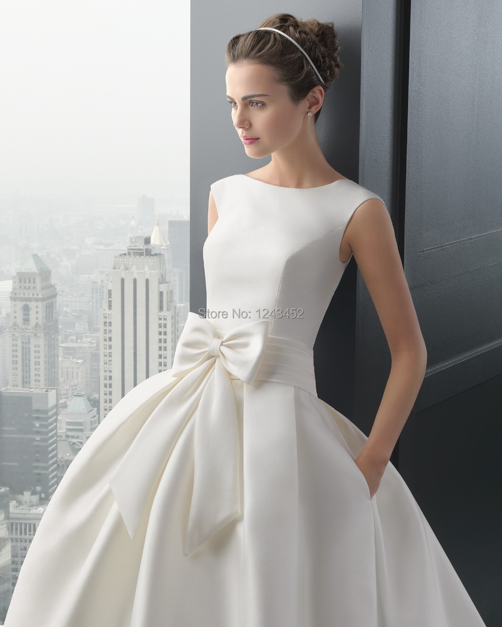 Free Shipping DHL White Low Back Bow Ball Gown Wedding Bridal Dresses Satin  Salomon Z2584 In Wedding Dresses From Weddings U0026 Events On Aliexpress.com  ...