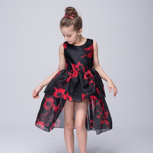 3-8T Graduation Dresses Kids Junior Girls Red Flower Printed Black Mesh Princess Dress O-Neck Sleeveless Pageant Evening Gowns