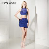 HSDYQ HOME Two Piece Royal blue Mini Prom Dresses with Rhinestones Beaded Crystals cheap Party dress