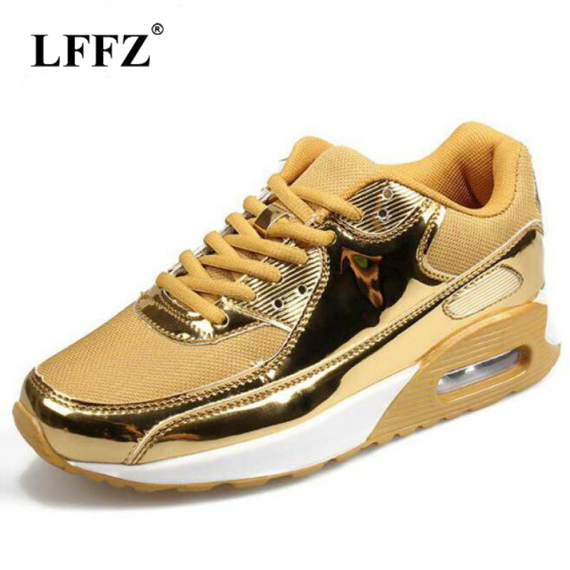 Lzzf 2018 Women Sneakers with Bling Breathable Mesh Newly Tenis Feminino Casual Shoes Women 2017 Gold Silver Walking Shoes Woman