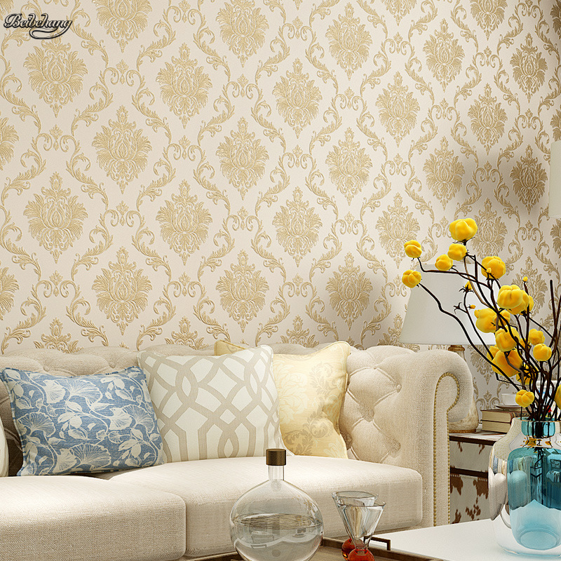 beibehang New high end non woven three dimensional co extruded European style Damascus warm bedroom living room wall wallpaper