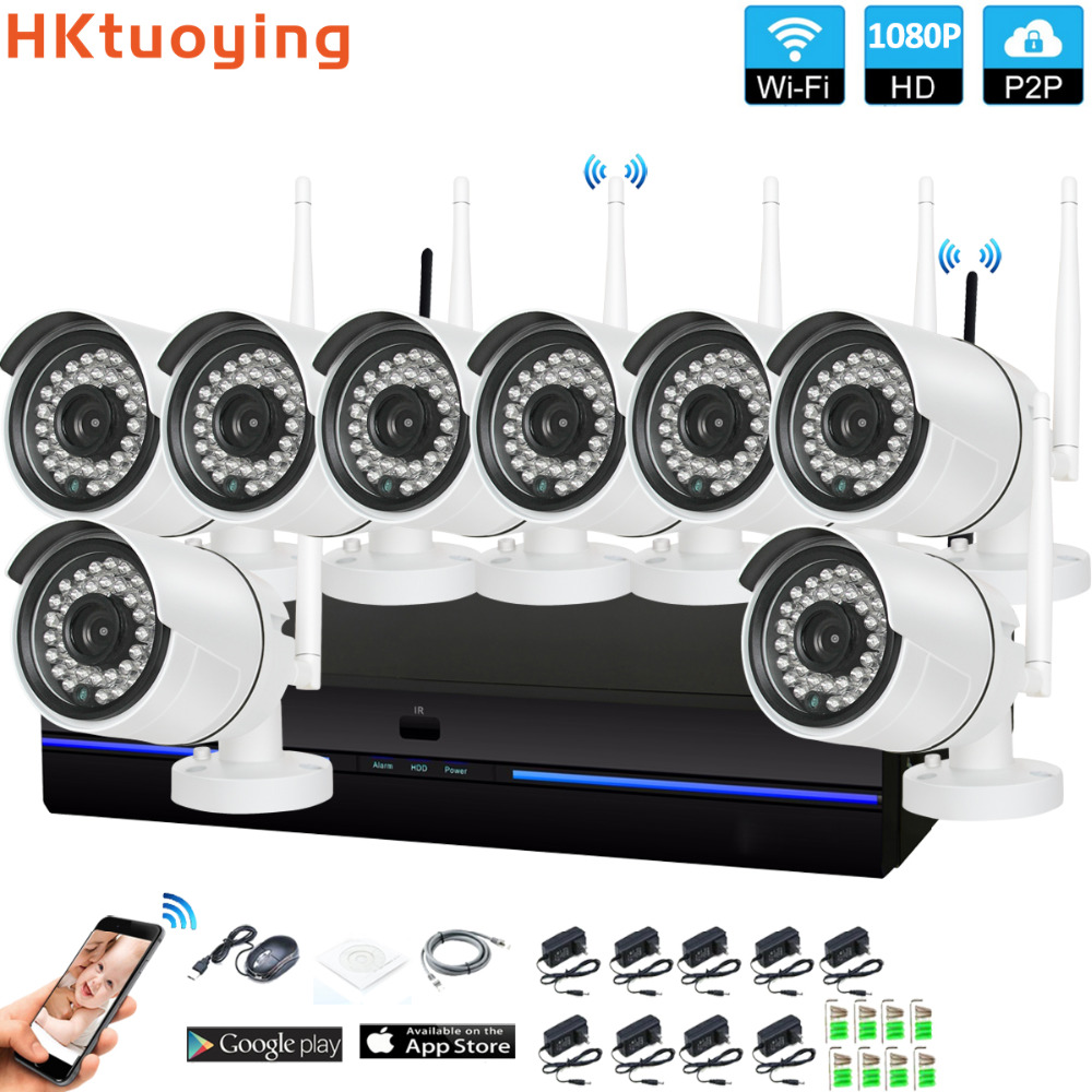 Plug and Play 8CH 1080P HD Wireless NVR Kit P2P 1080P Indoor Outdoor IR Night Vision Security 2.0MP IP Camera WIFI CCTV SystemPlug and Play 8CH 1080P HD Wireless NVR Kit P2P 1080P Indoor Outdoor IR Night Vision Security 2.0MP IP Camera WIFI CCTV System