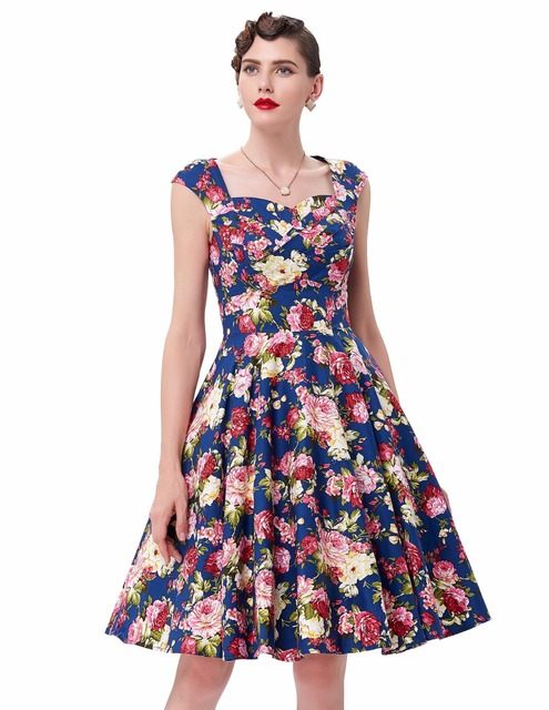 bccfa90ccd1 Women Spring Style 2018 New Arrival Elegant Retro Vestidos Casual Swing  Robe Rockabilly Floral Print Vintage 50s 60s Dresses