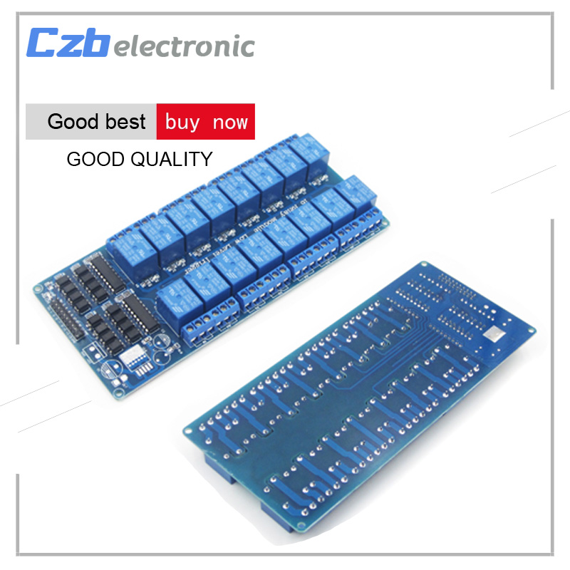 16 Channel 5V Relay Shield Module for arduino ARM PIC AVR DSP Electronic Relay Plate Belt optocoupler isolation tai shen ts sdr 5v 2 channel relay expansion module for dsp avr mcu arm white