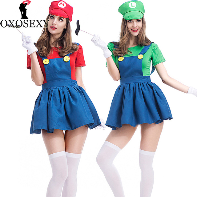 sexy dresshatmoustachegloves halloween super mario luigi bros costumes women plumber