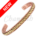 Channah 2017 Unisex Fashion Magnetic Bangle 2-Tone Gold Color Powerful Health Copper Bracelet Jewelry Gift  Free Shipping Charm