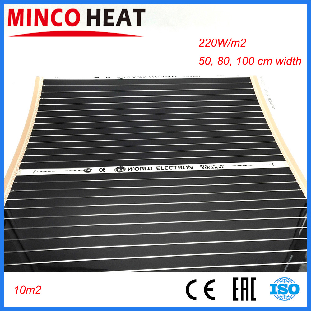 50cm 80cm 100cm Width Warm floors electric infrared 220W/sqm Electric Far infrared Carbon Radiant floor heating-in Wires & Cables from Lights & Lighting    1