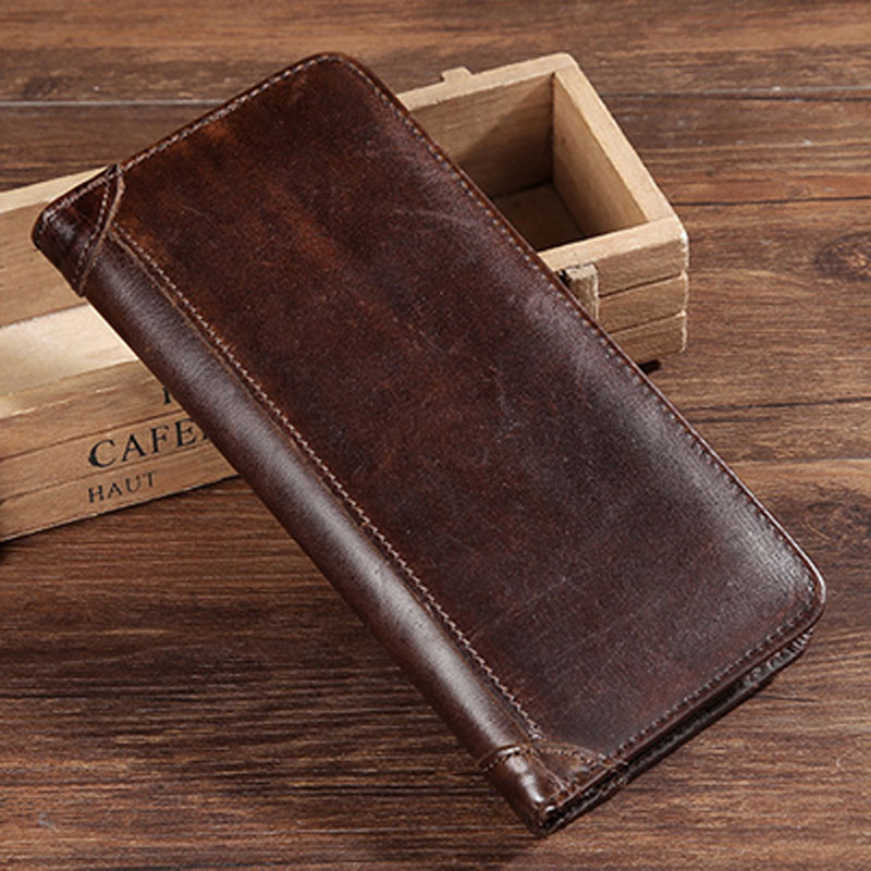 Genuine Leather Purse Real Cowhide Men Bifold Purse Long Designer Cash Coin Pocket Card Holder Clutch Bag Vintage Male Wallet