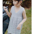 TBZ Summer Knitted Sweater Dress Pullovers Sweaters With lace Shrugs Vest V-Neck Dresses Crochet Girls Sweater 2016 Autumn Kids