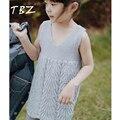 TBZ Verão Camisola de Malha Vestido de Pullovers Blusas Com rendas Dá de Ombros Colete Com Decote Em V Vestidos de Crochê Meninas Sweater 2016 Outono Crianças