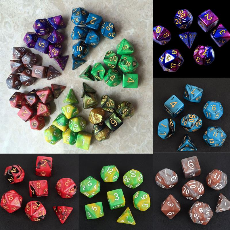 With Marble Effect D4 D6 D8 D10 D10 D12 D20 DUNGEON And DRAGONS Rpg Dice Game High Quality Multi-Sided Dice 7pcs Dice Set