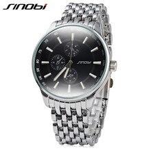 SINOBI Casual Full Steel Quartz Watches Men Quartz-watch Clock Watch Luxury Brand Male Wristwatch Horloges Mannen 2017 Reloj L19