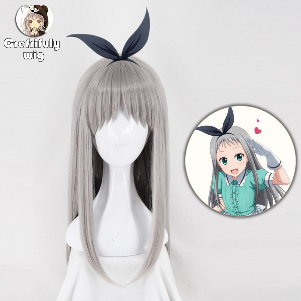 Japanese Anime Blend S Kanzaki Hideri Aus Straight Long Silver Gray Cosplay Wig Halloween Costume Play Wigs For Women + Wig Cap