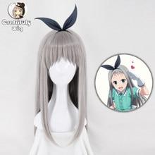Japanischen Anime Mischung S Kanzaki Hideri Aus Gerade Lange Silber grau Cosplay Perücke Halloween Kostüm Spielen Perücken Für Frauen + perücke Kappe