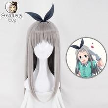 Peluca de Cosplay de Anime japonés S Kanzaki Hideri Aus liso de plata largos, color gris, peluca para disfraz de Halloween, peluca con gorro
