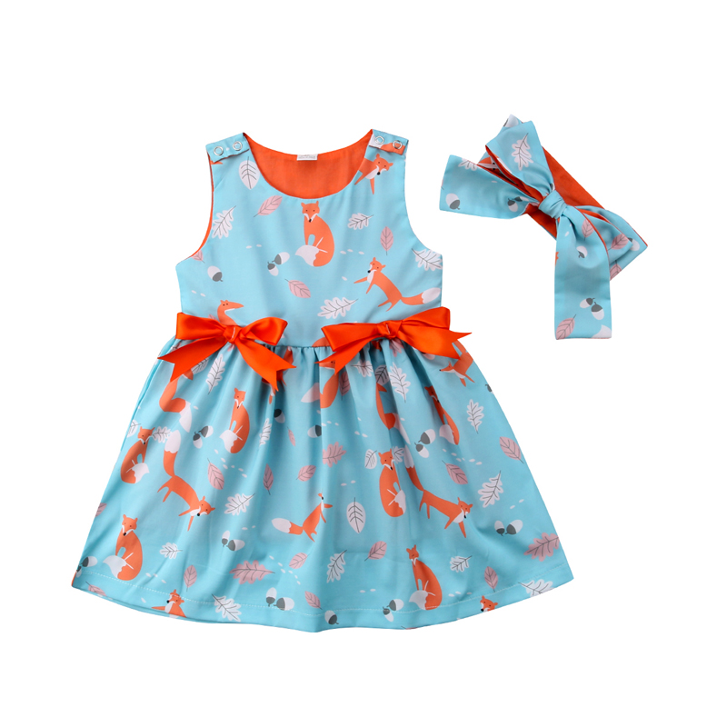 New Fashion Summer Newborn Baby Girl Dress Kids Print Animal Princess Bow Dress Pageant  ...