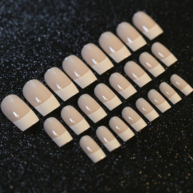 Online Shop 24pcs Flat Top White French Nails Glue on Nails Beige ...