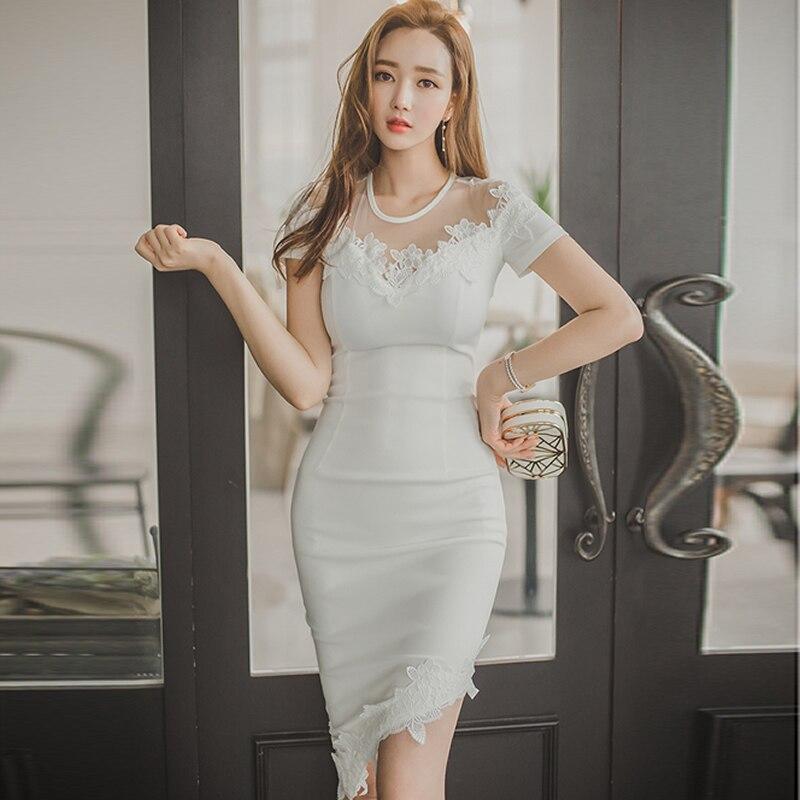 2018 Spring OL Knee-Length White Vestidos Cloth Women Midi Bodycon Lace Sexy Party Dress