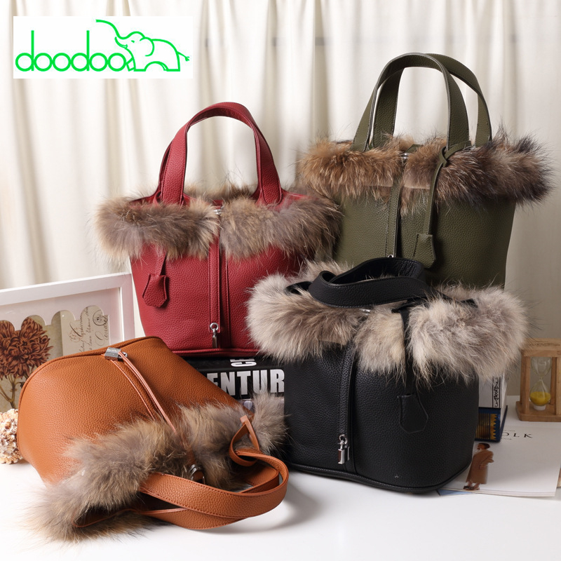 Fox Hair Women Bucket Bag Fashion Leather Ladies' Tote Bag Famous Design High Quality Women Leather Handbag and Purse Sac A Main fashionable women s tote bag with cover and pu leather design