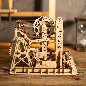 Image 4 - Robotime fai da te Cog sottobicchiere marmo corsa gioco kit di costruzione di modelli in legno giocattolo di assemblaggio regalo per bambini LG502