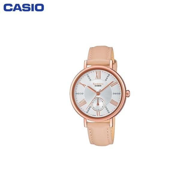Наручные часы Casio SHE-3066PGL-7BUEF женские кварцевые на кожаном ремешке