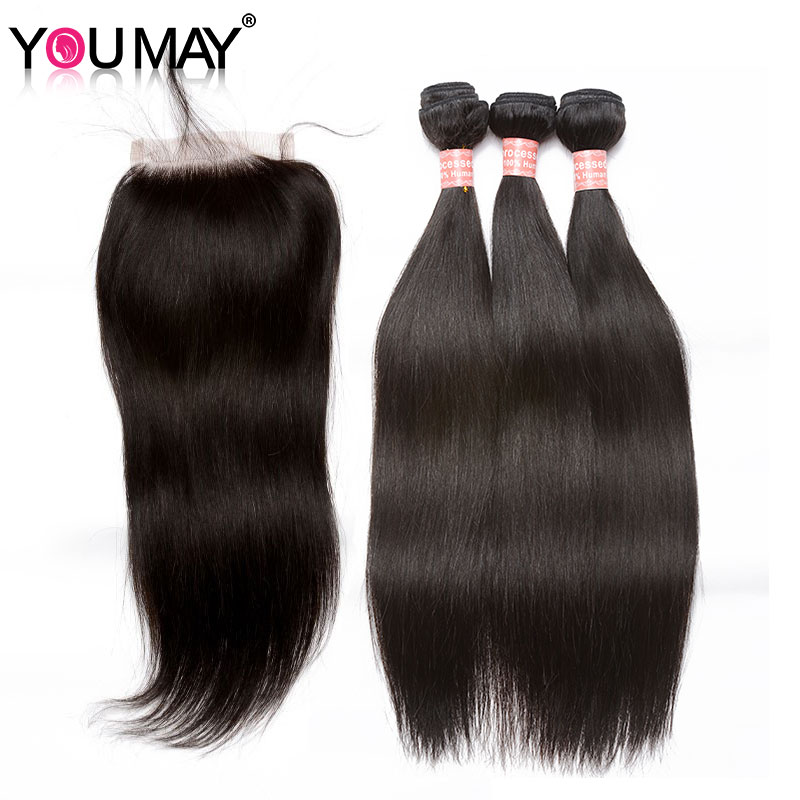 Human Hair Bundles With Closure 3 Brazilian Straight Virgin Hair Bundles With 4X4 Silk Base Lace Closure Pre-Plucked You May