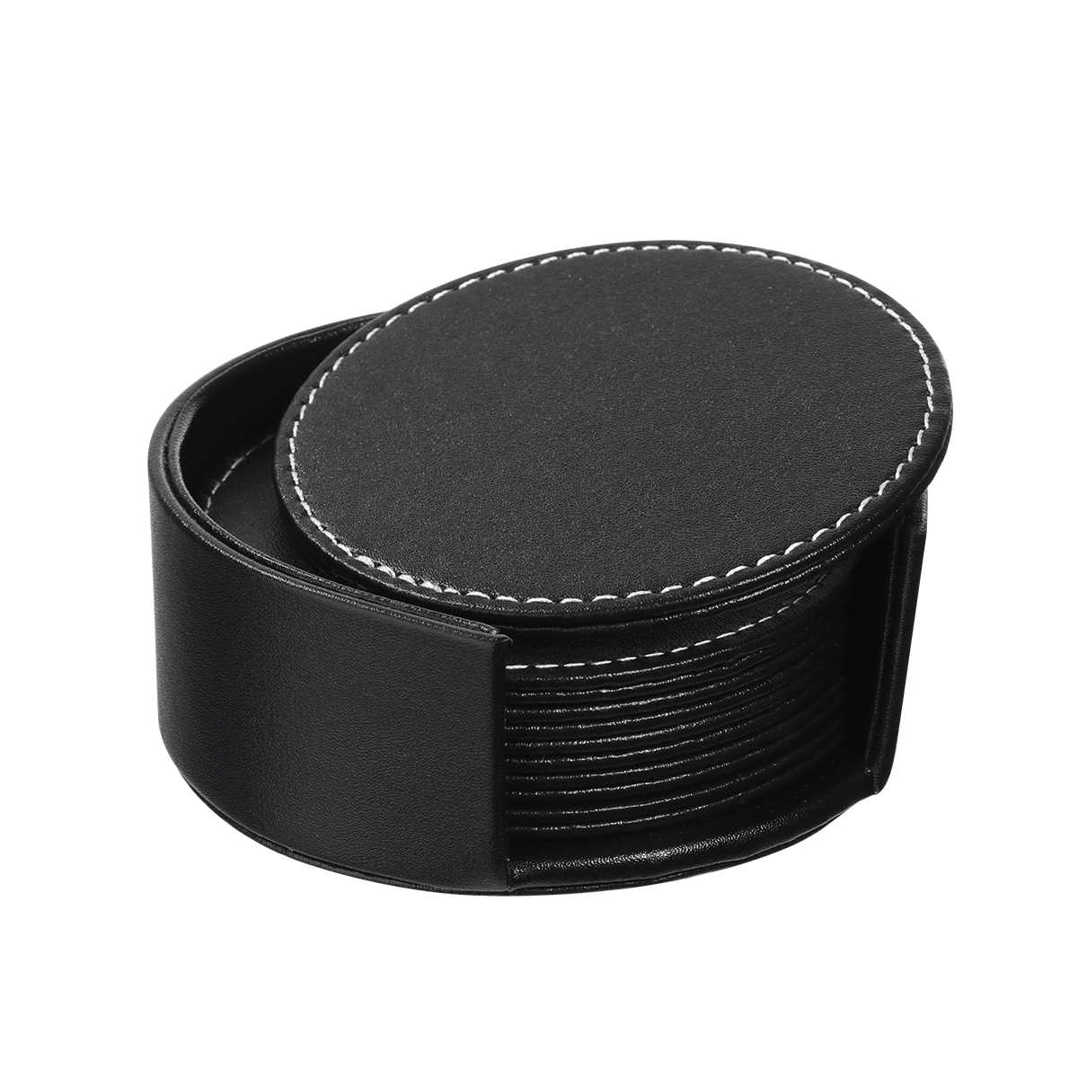 6pcs round leather cup holder pad