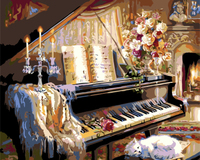 Piano Frameless Pictures Painting By Numbers Home Decor For Living Room DIY Digital Canvas Oil Painting