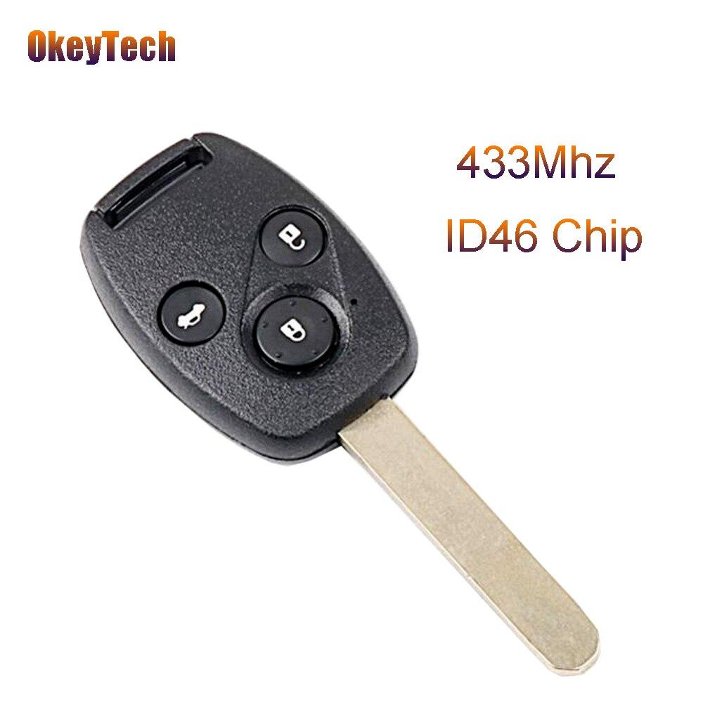 Брелок для авто OkeyTech, 3 кнопки, 433 МГц, ID46, без ключа, для Honda CITY